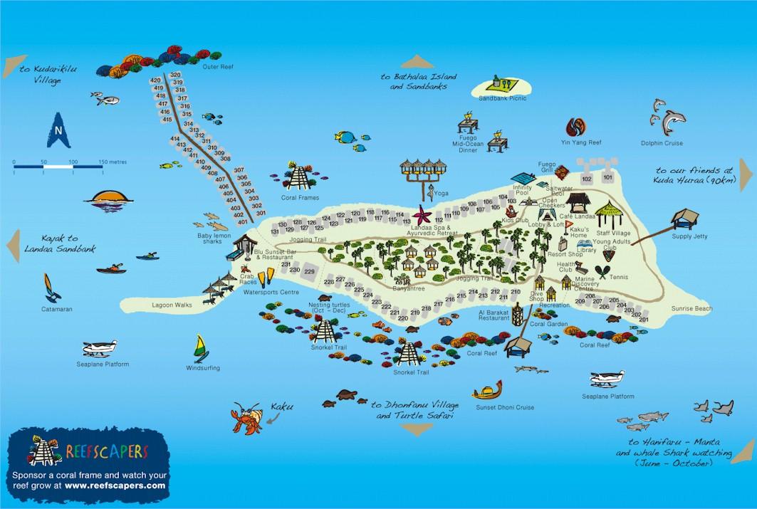 Maldives Resort Map Enlarged - Maldives map